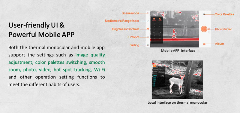 TrackIR Thermal Monocular's Dedicated Mobile App
